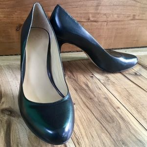 Ann Taylor Black Leather Heels, Sz 11
